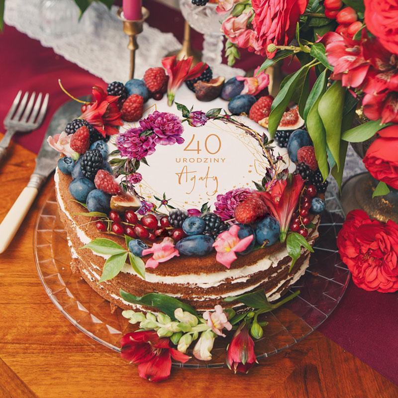 opłatek na tort urodzinowy boho
