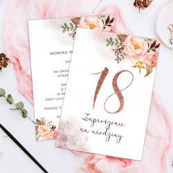 ZAPROSZENIE na 18 personalizowane Glittery Flowers