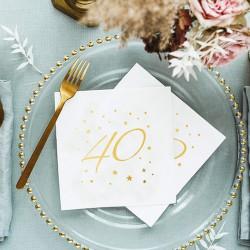 SERWETKI na 40 urodziny ze złotym napisem 33x33cm 20szt BIAŁE