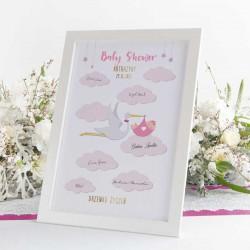 DRZEWKO Życzeń księga gości na Baby Shower Bocian Różowy W RAMIE Z Imieniem