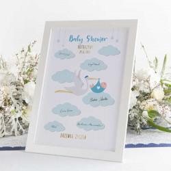 DRZEWKO Życzeń księga gości na Baby Shower Bocian Niebieski W RAMIE Z Imieniem