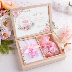 GRATULACJE dla dziadków Zostaniesz Babcią/Dziadkiem w pudełku KWIATOWY WÓZEK RÓŻ