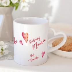 PREZENT na Dzień Matki kubek z sercem Kochanej Mamie 330ml Z IMIENIEM