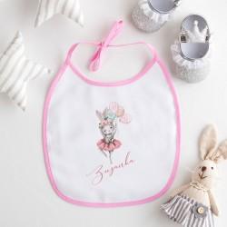 ŚLINIAK dla dziecka Ballerina Króliczek Z IMIENIEM różowy