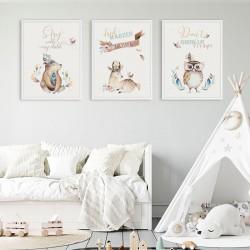 PLAKATY dla dziecka do pokoju  A4/A3 Stay Wild 3szt