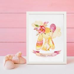 PLAKAT dla dziecka do pokoju Z IMIENIEM A4/A3 Różowy Króliczek dla dziewczynki