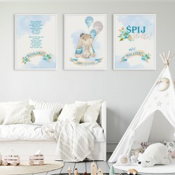 PLAKATY dla dziecka do pokoju Z METRYCZKĄ w ramie A4 Niebieski Króliczek 3szt
