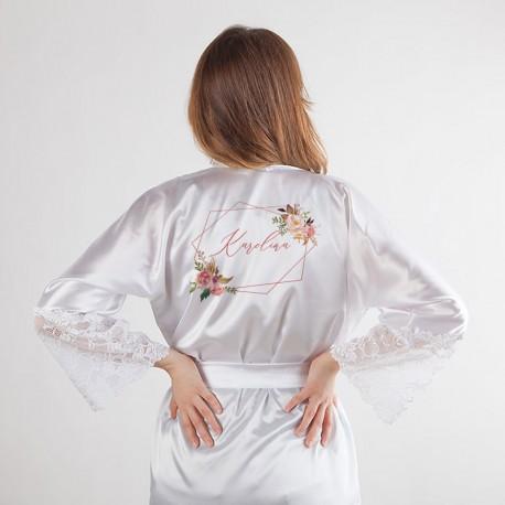 SZLAFROK satynowy koronka LUX Z IMIENIEM Rosegold Flowers
