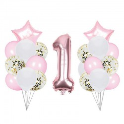 ZESTAW balonów na Roczek dla dziewczynki 22elementy