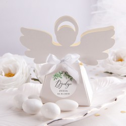 PUDEŁECZKA Aniołek na Chrzest/Komunię Delikatne Kwiaty 10szt (+etykiety z imieniem+białe wstążki)