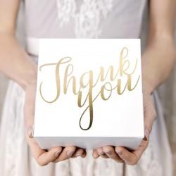 PUDEŁKA na ciasto Thank You 10szt ZŁOTY METALICZNY NADRUK