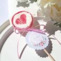 LIZAKI podziękowanie z sercem na Chrzest Kwiatowy Wózek RÓŻ (+bileciki kółka+naklejki) 15szt