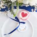 LIZAKI podziękowanie z sercem na Chrzest Kwiatowy Wózek BŁĘKIT (+bileciki kółka+naklejki) 15szt