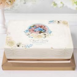 OPŁATEK na tort Chrzest Z IMIENIEM Kwiatowy Wózek BŁĘKIT ZE ZDJĘCIEM 21x30cm