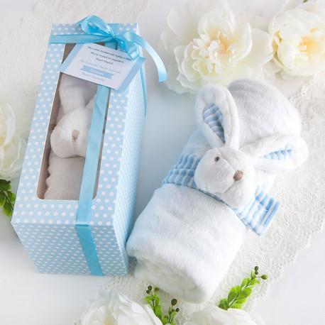 PAMIĄTKA Chrztu Świętego KOCYK z króliczkiem w pudełku BŁĘKITNY
