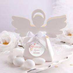 PUDEŁECZKA Aniołek na Chrzest/Komunię Subtelny Róż 10szt (+etykiety z imieniem+białe wstążki)