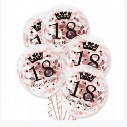 BALONY na 18 urodziny z konfetti 3szt ROSEGOLD