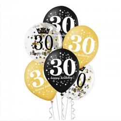 BALONY na 30 urodziny czarno-złote MIX 6szt