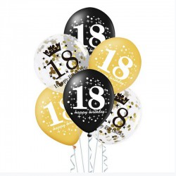 BALONY na 18 urodziny czarno-złote MIX 6szt
