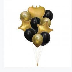 ZESTAW balonów na Roczek i urodzinki złoto-czarny