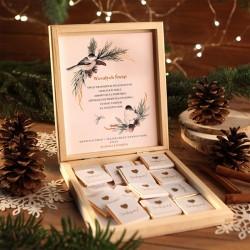 CZEKOLADKI na prezent w drewnianym pudełku Słodka Niespodzianka Z IMIENIEM 12 sztuk