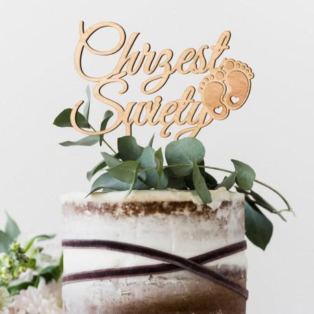 TOPPER na tort Chrzest Święty ZE STÓPKAMI