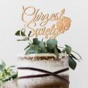 TOPPER na tort Chrzest Święty ZE STÓPKAMI Drewniany