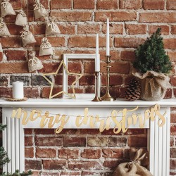 GIRLANDA świąteczna drewniana Merry Christmas 87x17cm