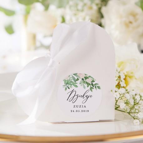 PUDEŁECZKA SERCA Delikatne Kwiaty (+etykiety z imieniem+białe wstążki) 10szt