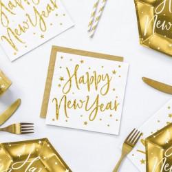 SERWETKI papierowe Happy New Year 33x33cm BIAŁE 20 sztuk