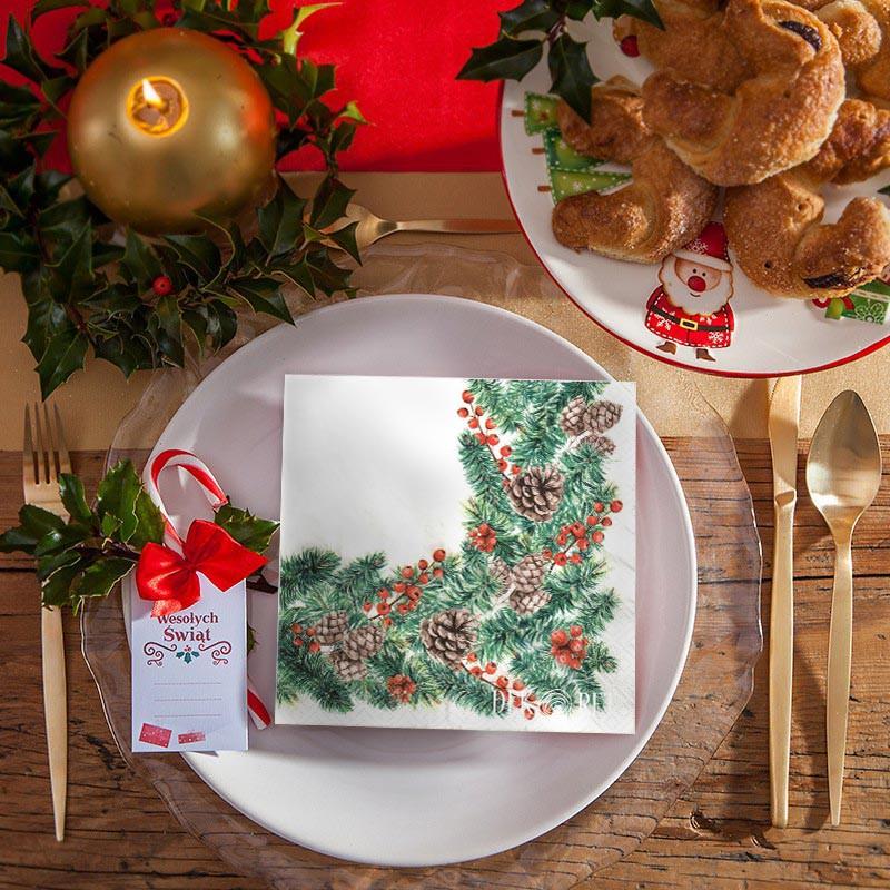 Serwetki na Boże Narodzenie z klasycznym wzorem