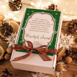 KOSZ prezentowy świąteczny wino musujące+krówki z ŻYCZENIAMI od Ciebie Zielony