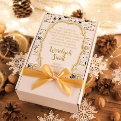 KOSZ prezentowy świąteczny Szampan+krówki Z NAZWĄ Złoty