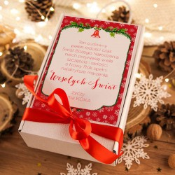 KOSZ prezentowy świąteczny Szampan+krówki z ŻYCZENIAMI od Ciebie Czerwony