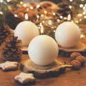 ŚWIECE świąteczne kule matowe 8cm 6szt KREMOWE