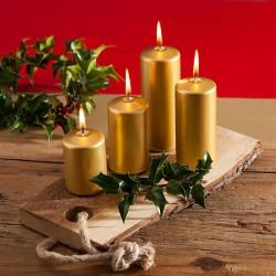 ŚWIECE świąteczne pieńkowe 4 wysokości ZŁOTE 4szt