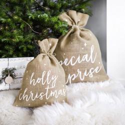 WOREK jutowy na prezenty świąteczne Holly Christmas 30x42cm