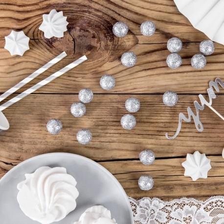 GWIAZDKI brokatowe dekoracja świąteczna 5cm 8szt SREBRNE