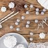 KULKI brokatowe dekoracja świąteczna 2cm 25szt SREBRNE