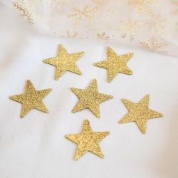 GWIAZDKI brokatowe dekoracja świąteczna 5cm 8szt ZŁOTE
