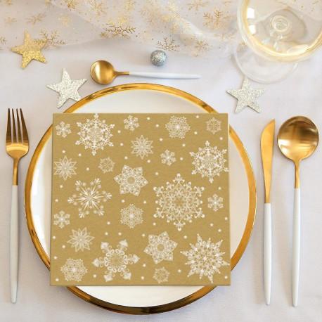 SERWETKI świąteczne flizelinowe Classic Christmas ZŁOTE