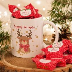 PREZENT świąteczny Kubek+krówki Z IMIENIEM Renifer