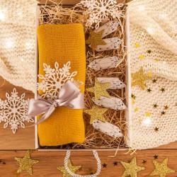 PREZENT świąteczny Czapka w pudełku Z IMIENIEM Zestaw Złoty