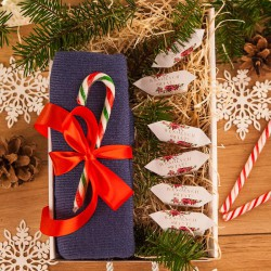 PREZENT świąteczny Czapka w pudełku Z IMIENIEM Zestaw Granatowy