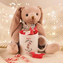 PREZENT świąteczny dla dziecka Maskotka+Kubek Z IMIENIEM Króliczek