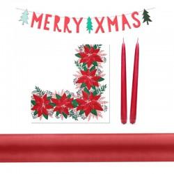 DEKORACJA świąteczna na stół i salę ZESTAW CZERWONY