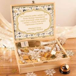 ZESTAW świąteczny w skrzyni Premium Kryształowe Prosecco Z TWOIM NADRUKIEM