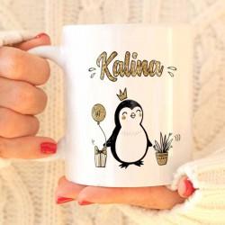 KUBEK świąteczny na prezent Z IMIENIEM Pingwinki