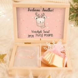 PREZENT świąteczny dla dziecka bransoletka z sercem RENIFER Z Imieniem POZŁACANA