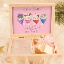 PREZENT świąteczny dla dziecka bransoletka nieskończoności KOTKI Z Imieniem POZŁACANA